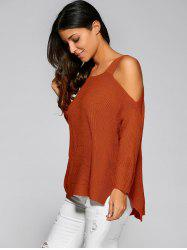 Cold Shoulder Asymmetric Sweater with Slit - JACINTH