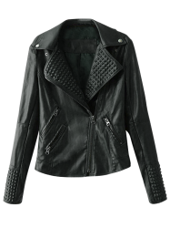 Lapel Collar Zippered Biker Jacket - BLACK L