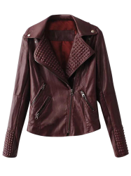 Lapel Collar Zippered Biker Jacket - DARK RED