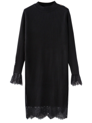 High Neck Cut Out Lace Panel Knitting Jumper Dress -