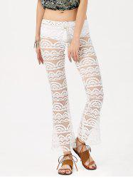 Sexy Lace See-Through Solid Color Pants For Women - WHITE
