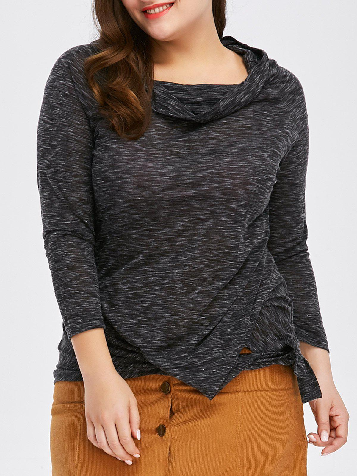 Online Fashionable Off-The-Shoulder Solid Color Plus Size 3/4 Sleeve T-Shirt For Women