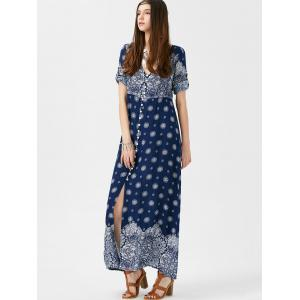 Bohemian Print Long Swing Dress with Sleeves - PURPLISH BLUE 2XL