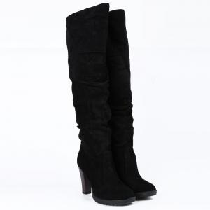 Causal Suede Chunky Heel Design Women's Boots - BLACK 39
