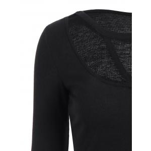 Scoop Neck Long Sleeve Strappy T-Shirt - BLACK 2XL