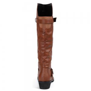 Elastic Band Slip On Mid Calf Boots - BROWN 39