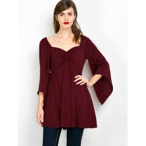 Lace Insert Ruched Tunic Top -