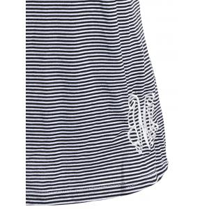 Stylish Scoop Neck Lace Splicing Striped Embroidery Tank Top For Women -