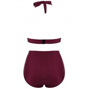 Plus Size High Waisted Halter Bralette Bikini - WINE RED 4XL
