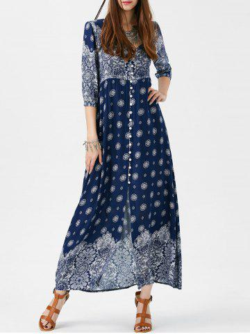 Buy Bohemian Print Long Swing Dress with Sleeves PURPLISH BLUE 2XL
