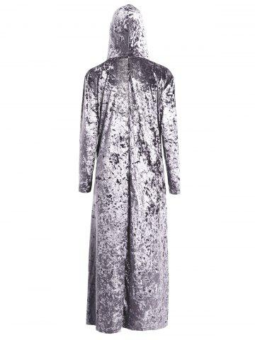 Unique Open Front Maxi Velvet Coat - ONE SIZE GRAY Mobile