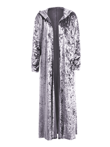 Chic Open Front Maxi Velvet Coat - ONE SIZE GRAY Mobile