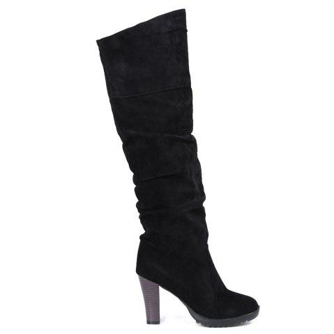 Buy Causal Suede Chunky Heel Design Women's Boots - 39 BLACK Mobile