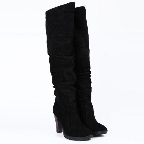 Store Causal Suede Chunky Heel Design Women's Boots - 39 BLACK Mobile