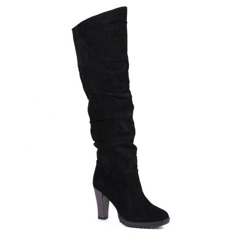 Chic Causal Suede Chunky Heel Design Women's Boots - 39 BLACK Mobile