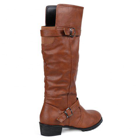 Best Elastic Band Slip On Mid Calf Boots - 39 BROWN Mobile