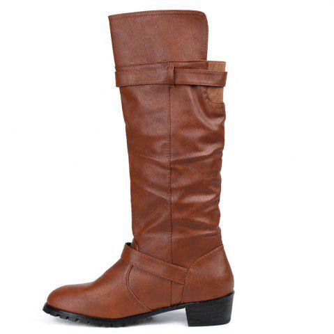 Latest Elastic Band Slip On Mid Calf Boots - 39 BROWN Mobile