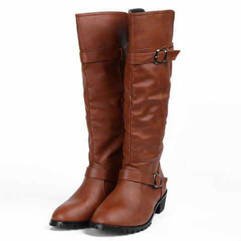 Shop Elastic Band Slip On Mid Calf Boots - 39 BROWN Mobile