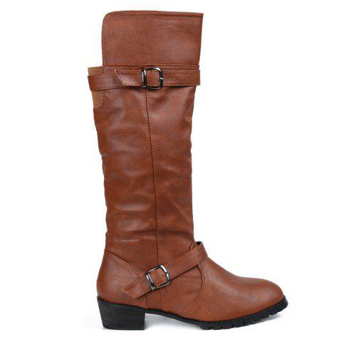 Unique Elastic Band Slip On Mid Calf Boots - 39 BROWN Mobile