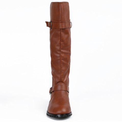Outfits Elastic Band Slip On Mid Calf Boots - 39 BROWN Mobile