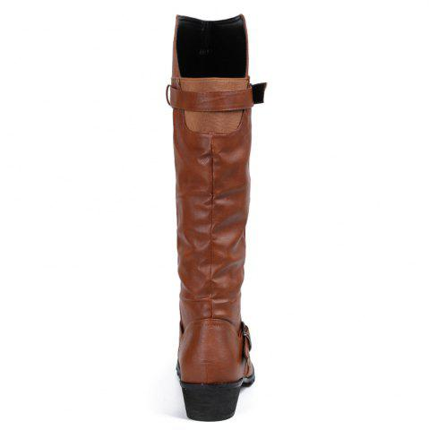 New Elastic Band Slip On Mid Calf Boots - 39 BROWN Mobile