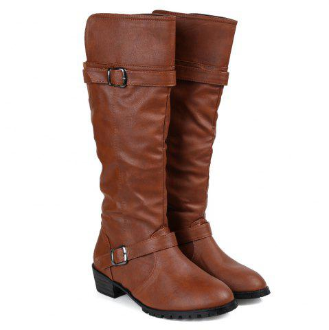 Store Elastic Band Slip On Mid Calf Boots - 39 BROWN Mobile