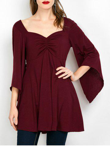 Online Lace Insert Ruched Tunic Top