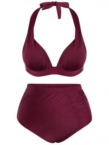 Outfit Plus Size High Waisted Halter Bralette Bikini WINE RED 3XL