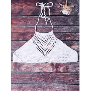 Sexy Halter Solid Color Hollow Out Crochet Women's Tank Top -