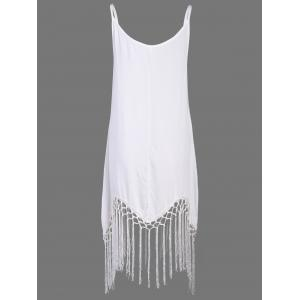 Sleeveless Fringe Embellished Asymmetrical Flapper Dress -