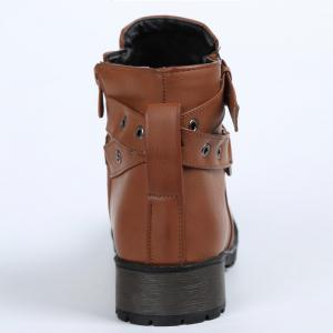 Stylish Cross Straps and Zipper Design Women's Ankle Boots - BROWN 38