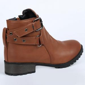 Stylish Cross Straps and Zipper Design Women's Ankle Boots -