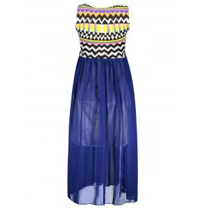 Ruffled Sleeveless Print Bohemian Chiffon African Maxi Dress - BLUE ONE SIZE