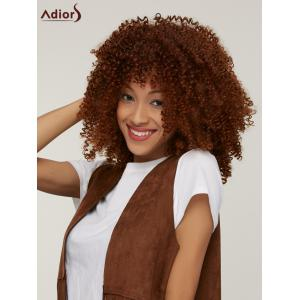 Stylish Towheaded Afro Curly Capless Medium Brown Synthetic Wig For Women - COLORMIX