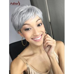 Elegant Short Pixie Cut Straight Grey White Synthetic Wig For Women -