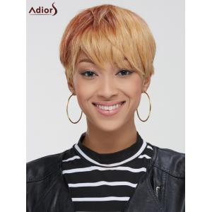 Short Neat Bang Straight Mixed Color Synthetic Wig -