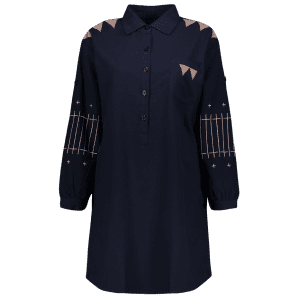 Embroidered A Line Shirt Dress -