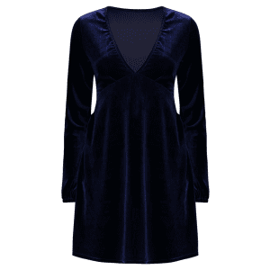 Empire Waist Velvet Plunge Cocktail Dress - PURPLISH BLUE L