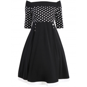 Polka Dot Off The Shoulder Midi Vintage Dress