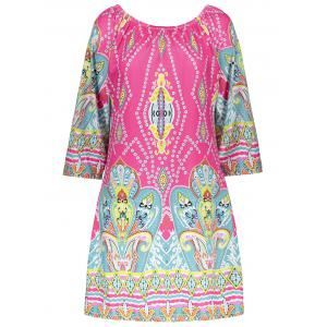 Bohemian Off The Shoulder African Style Print Dress - COLORMIX M