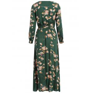 Bohemian Maxi Floral Dress - GREEN XL