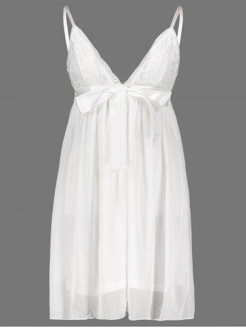 Buy Women's Stylish Plunging Neck Lace Bowknot Decorated Pleated Babydolls - XL WHITE Mobile