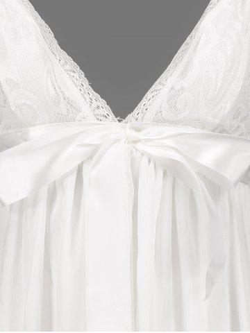 Hot Women's Stylish Plunging Neck Lace Bowknot Decorated Pleated Babydolls - M WHITE Mobile