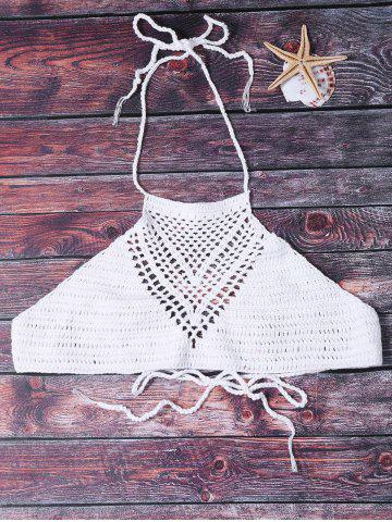 Sexy Halter Solid Color Hollow Out Crochet Women's Tank Top - WHITE ONE SIZE