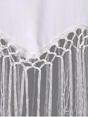 Cheap Sleeveless Fringe Embellished Asymmetrical Flapper Dress - L WHITE Mobile