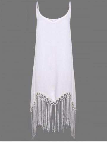 Store Sleeveless Fringe Embellished Asymmetrical Flapper Dress - L WHITE Mobile