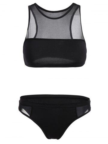 New See-Through Crop Top Sheer Bathing Suit BLACK S