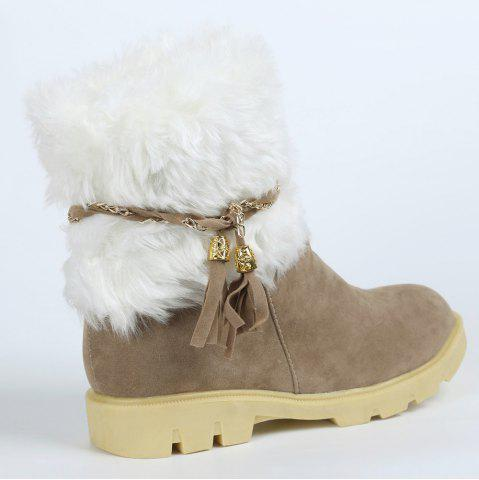 Discount Cute Plush and Tassels Design Women's Snow Boots - 37 APRICOT Mobile