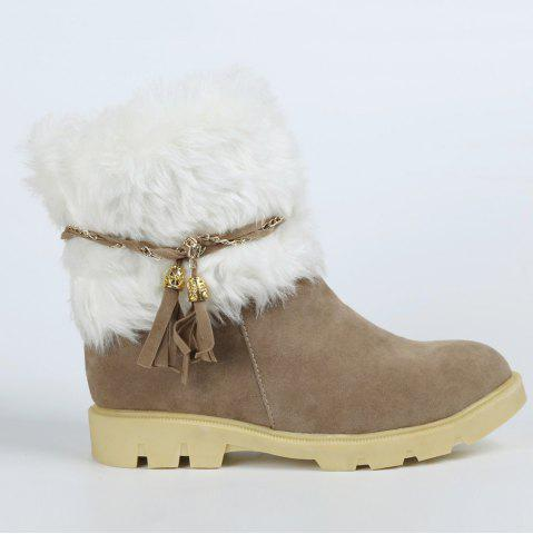 Fashion Cute Plush and Tassels Design Women's Snow Boots - 37 APRICOT Mobile