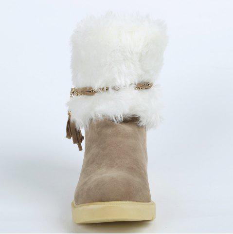 New Cute Plush and Tassels Design Women's Snow Boots - 37 APRICOT Mobile